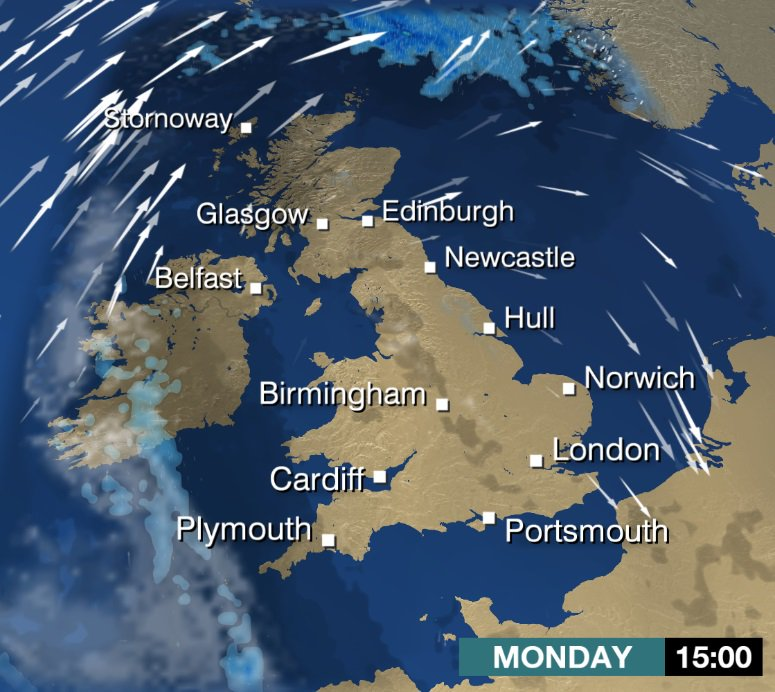 Monday: #Cold start with some #mist and #fog in places, otherwise, a mainly fine and dry day with plenty of #sunny spells. A cool day for most. Stav D