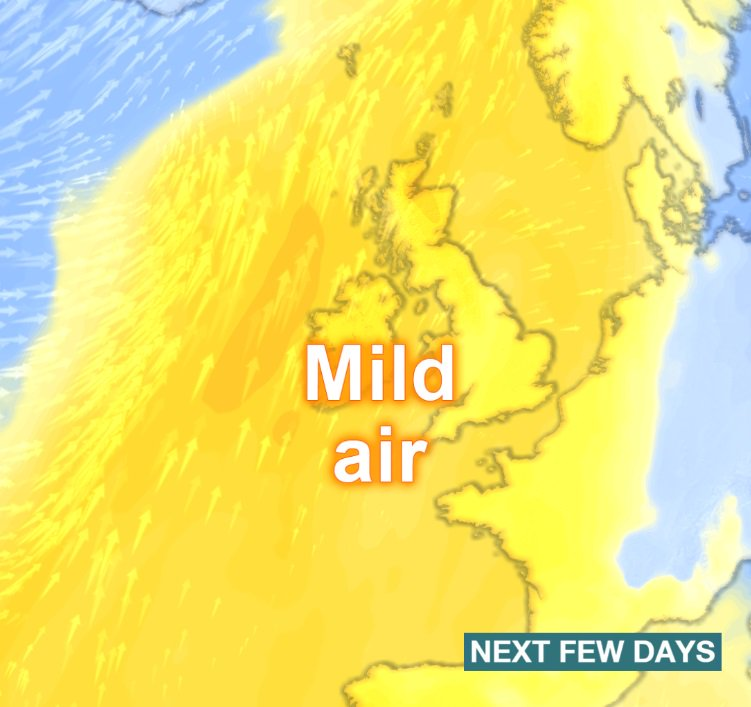 It's expected to become #milder from Tuesday - both by day and by night. However, skies will tend to be #cloudy with limited spells of brightness. Stav D