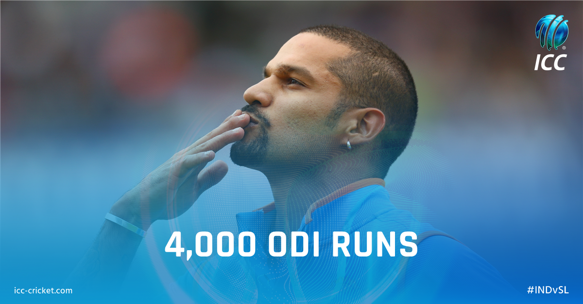 Congratulations to SDhawan on reaching 4,000 ODI runs! He reaches the mark in his 95th innings - the second fastest for India