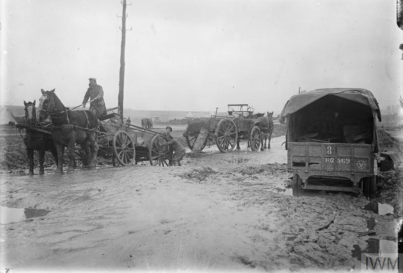 Dec 16, 1917 - British transport bogged by down mud and rainflooded shell holes on the Aveluy-Albert road, in northern France #100yearsago