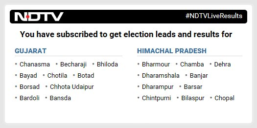 @Eylem14433390 Hi Eylem, thanks for subscribing to NDTV election alerts. We'll send you latest leads and results as votes are counted.