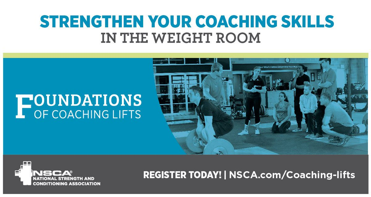Strengthen your coaching skills at the NSCA's hands-on course: Foundations of Coaching Lifts. The course lays the groundwork for teaching athletes and clients how to properly perform the bench press, push press, power clean, and squat. Register today >> https://t.co/ZRLkHudCGp
