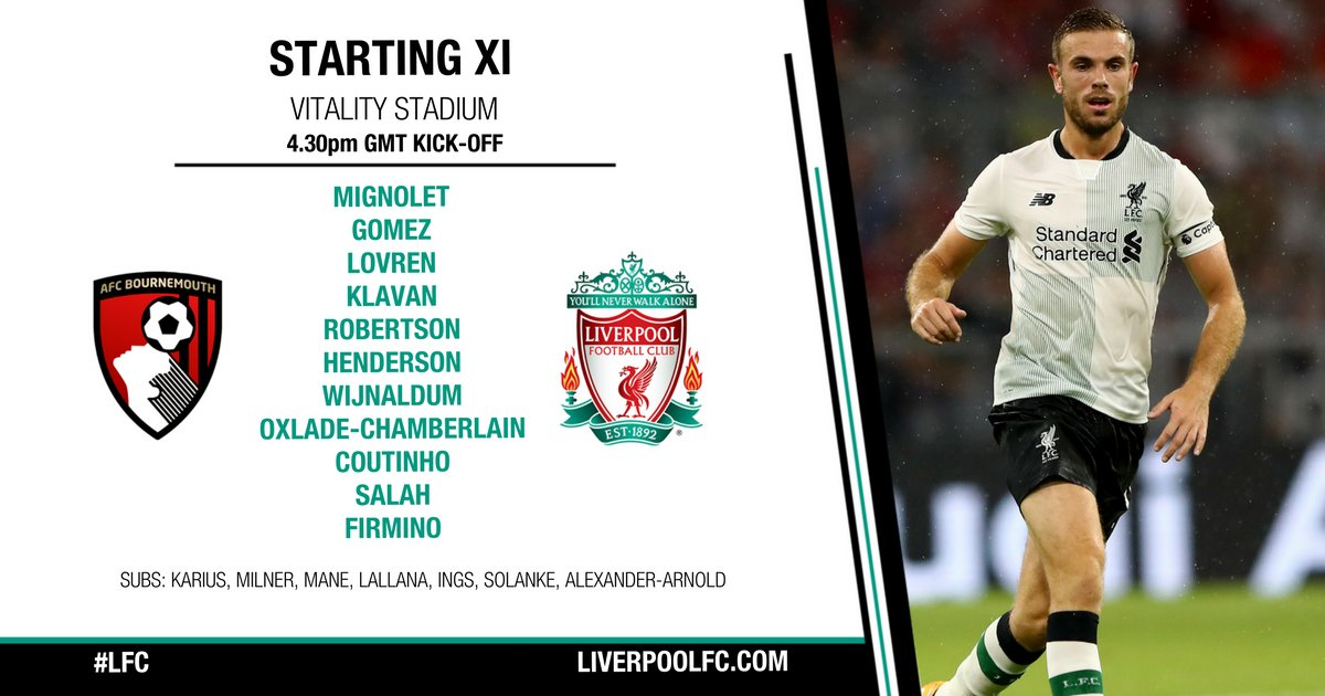 📋 #LFC's team to take on @afcbournemouth this afternoon...