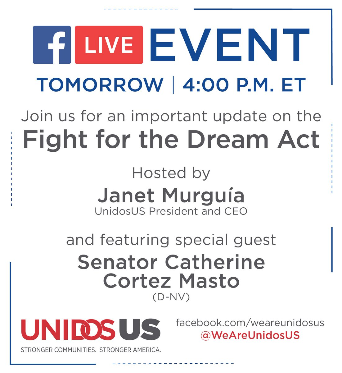Join us tomorrow afternoon with @SenatorCortezMasto as we give an update on DREAMers and the impact on our children's future.