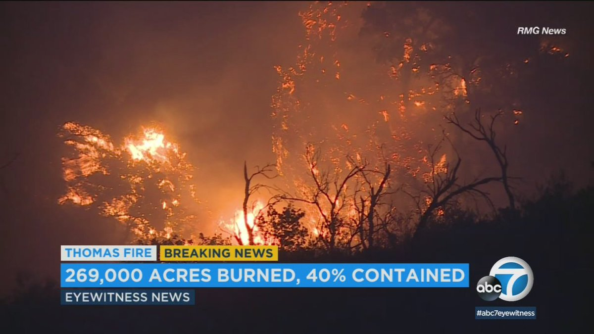 #ThomasFire grows to 420 square miles; full containment expected by Jan. 7 https://t.co/XqNdfbefSN