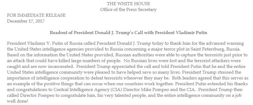 MORE: White House releases statement on Trump-Putin call: 'Both leaders agreed that this serves as an example of the positive things that can occur when our countries work together.'