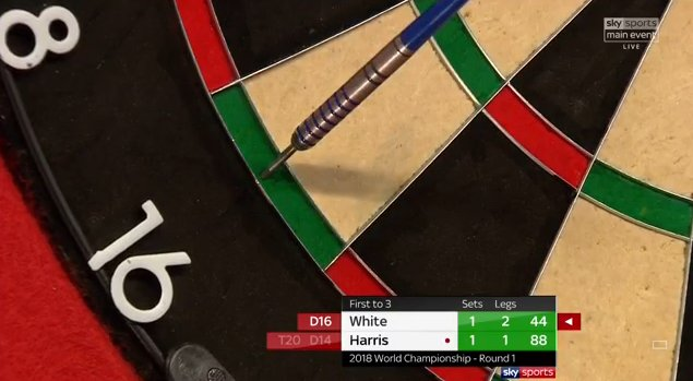 White takes out 44 and moves one set away from Round Two. Is there any way back for Harris? Watch live on Sky Sports Darts or follow it here: https://t.co/ejVcAqyLKO