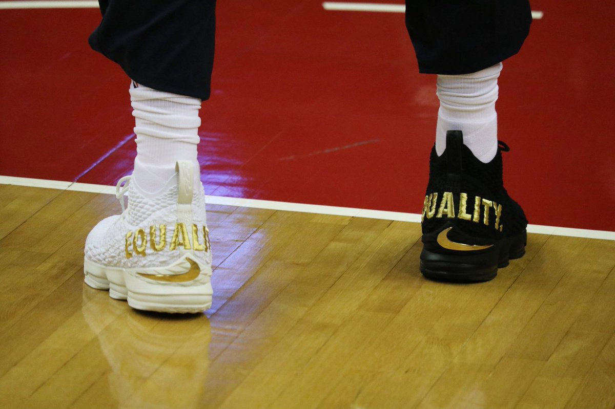 The King debuted the black 'Equality' LeBron 15 on opening night in October. He's wearing a white version of the 'Equality' 15 tonight. 📷: @cavs