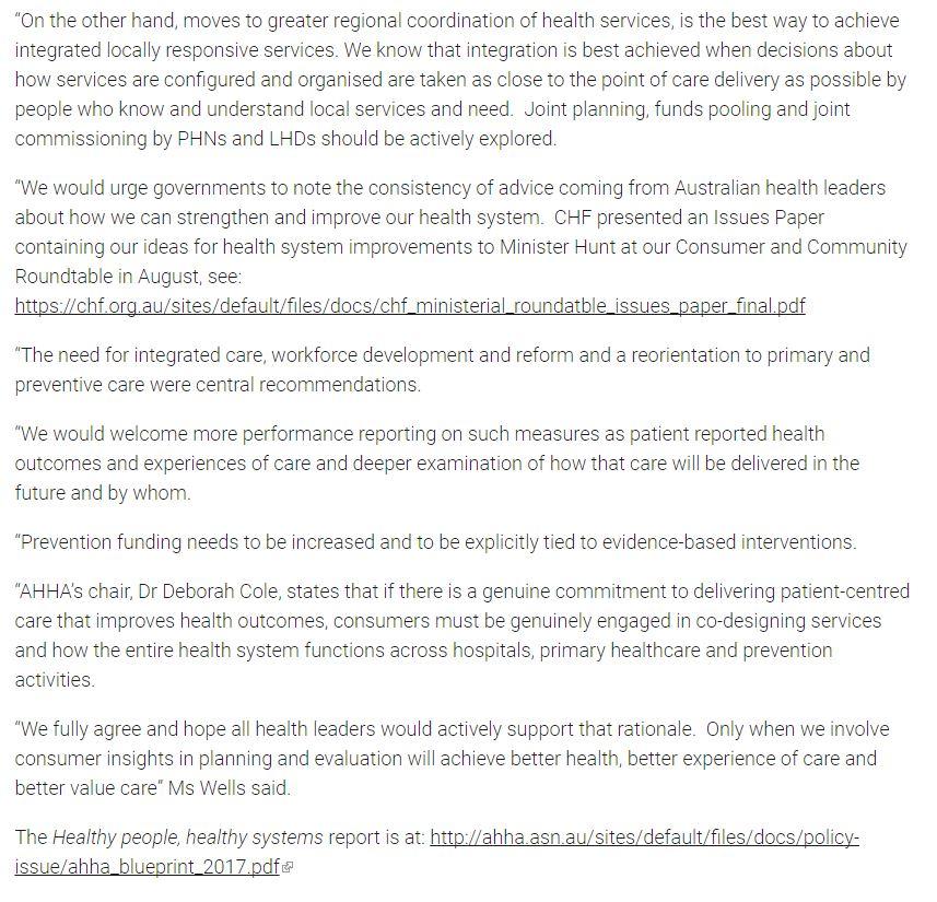 Chf Of Australia On Twitter The Aushealthcare Blueprint For A