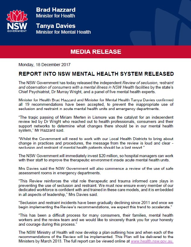 The #NSWGovernment has accepted all 19 recommendations from the Review of seclusion, restraint and observation practices in @NSWHealth facilities. To view the full report follow the link:  http:// bit.ly/2AP4yAE  &nbsp;   @BradHazzard #Mentalhealth <br>http://pic.twitter.com/gYugaf75cM
