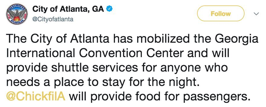 NEW: The City of Atlanta has opened theGeorgia International Convention Center for passengers who need a place to spend the night due to airport power outage. https://t.co/E6nB0H2AKA