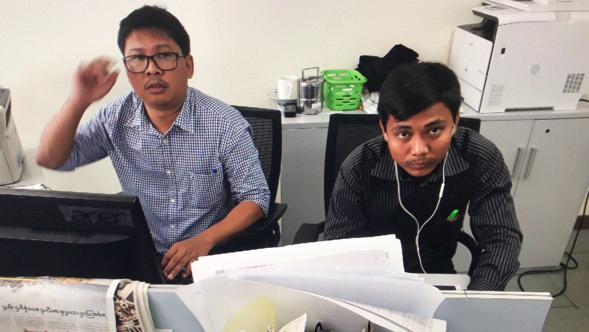 Myanmar journalists are wearing black to express solidarity with my Reuters colleagues Wa Lone and Kyaw Soe Oo. They were arrested in Yangon on Dec. 11 and are being held at a location the authorities won't disclose. Please share.