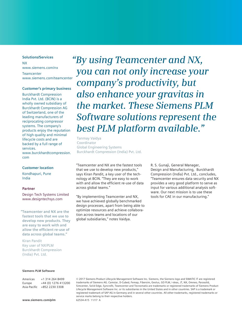 Designtech Systems On Twitter Burckhardt Compression India Adopted Siemens Plm Software S Nx Teamcenter Solutions To Utilize The Latest 3d Design Systems In Solving A Range Of Issues From Reducing Turnaround For