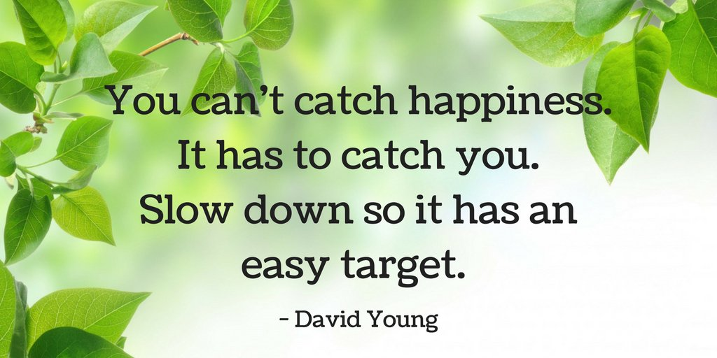You can&#39;t catch happiness It has to catch you. Slow down so it has an easy target. -- David Young  #Motivation #Inspiration #Success <br>http://pic.twitter.com/4liSz4mR5I