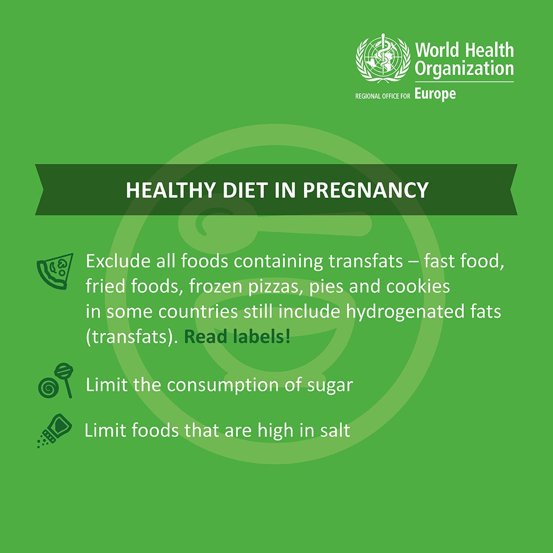 RT WHO_Europe: A #HealthyPregnancy requires a healthy, balanced and diverse diet. This means: adequate energy, protein, vitamins and minerals; exclusion of transfats; low in salt &amp; sugar; and rich in fruits &amp; vegetables. <br>http://pic.twitter.com/JmJl2T0zNW WHO #health #purefitblog #wellness