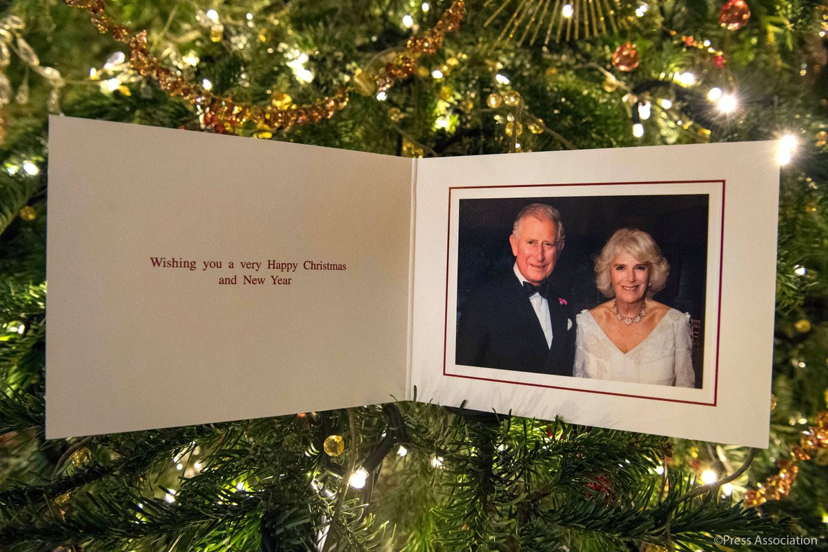 Here is this year's official Christmas card from The Prince of Wales and The Duchess of Cornwall.  The photograph was taken by Hugo Burnand at Highgrove in July during the private 70th Birthday party of The Duchess of Cornwall.