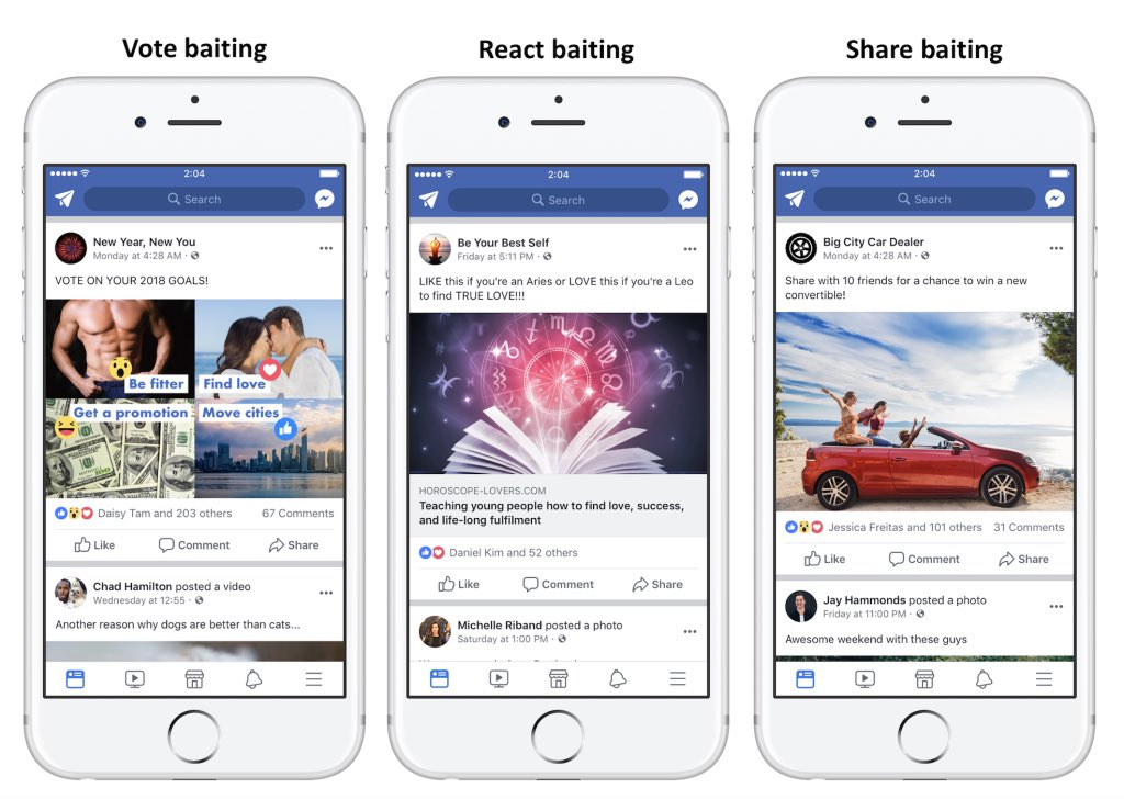 WAOH! Facebook is going to downrank Facebook Page posts that use engagement bait e.g.  - LIKE this if... - Comment if you... - Tag someone who... - Share this if...  https://t.co/JGARVUX5YB