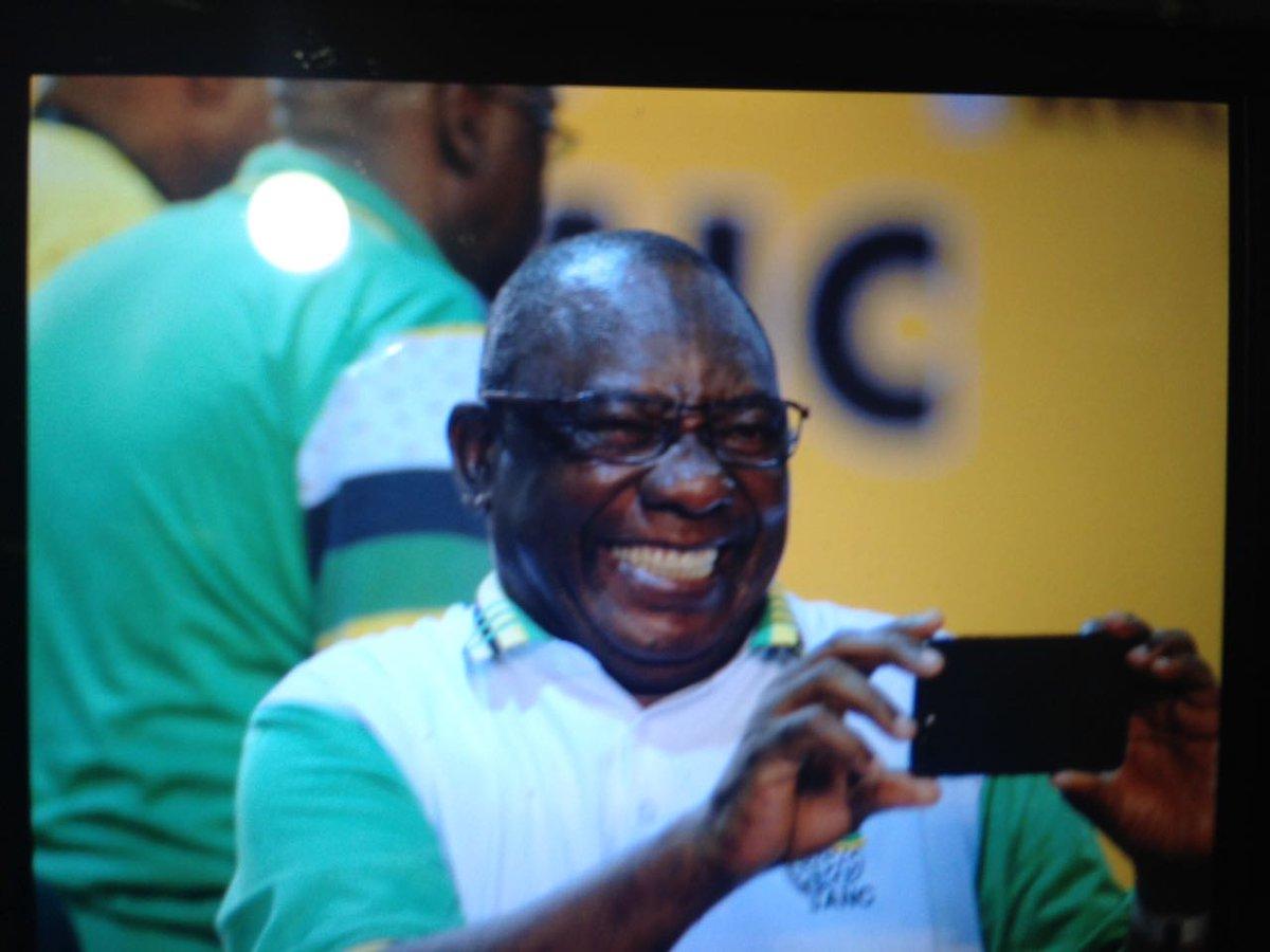 #ANC54 Big smiles from #Ramaphosa. https...