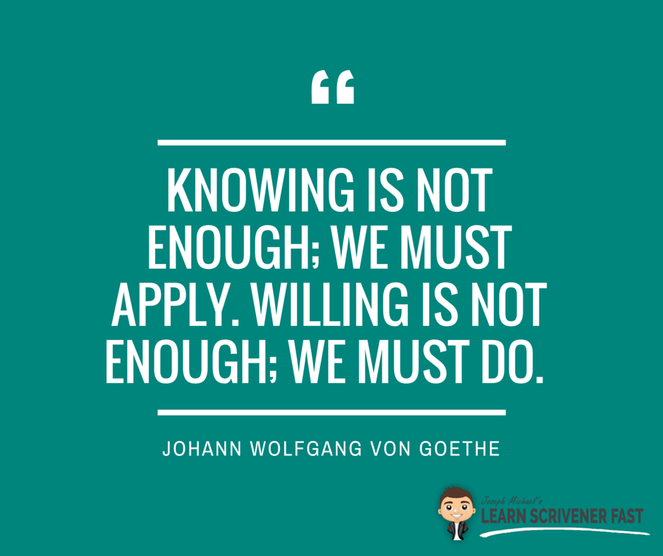 knowing is not enough we must apply