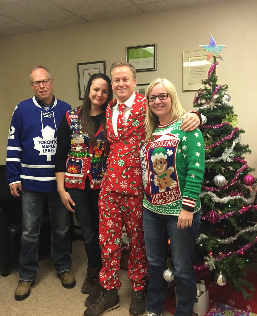 mortlockconstruction on twitter ugly christmas sweater day at the office today obviously garys not a leaf fan and craigs not a sweater guy