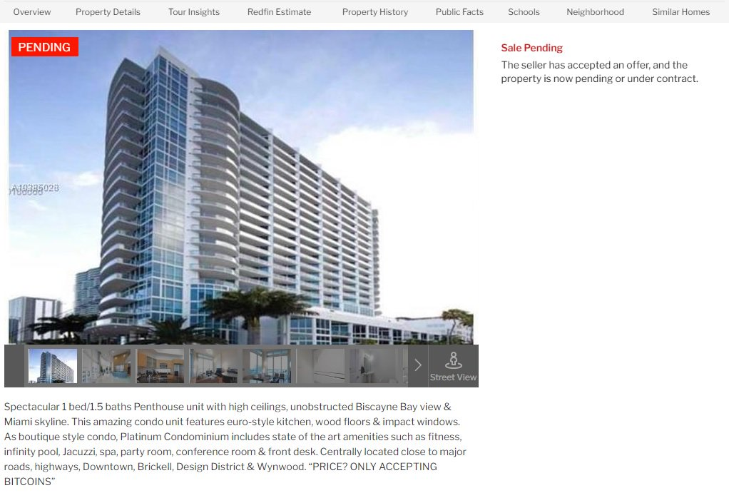 Last week, saw this #Miami penthouse condo listed w/owner only accepting #Bitcoin . Now it's under contract.