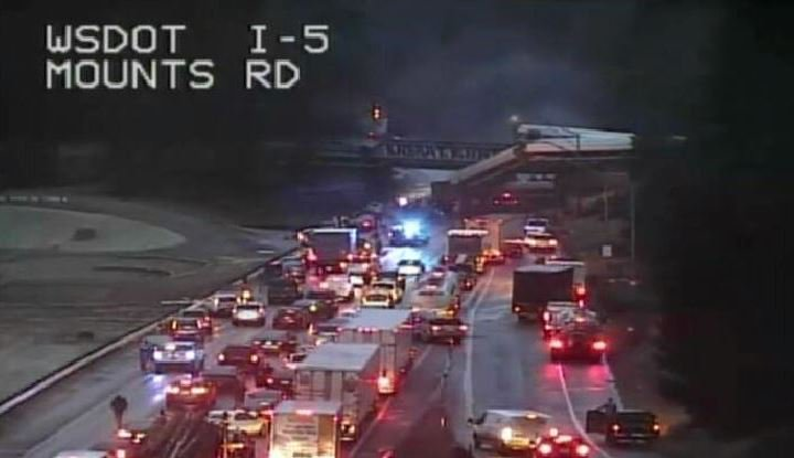 #BREAKING: Reported mass casualty event as an Amtrak train has derailed in Pierce County - Washington State.  Part of the train appears to have fallen onto Interstate 5.  Pic @wsdot_tacoma