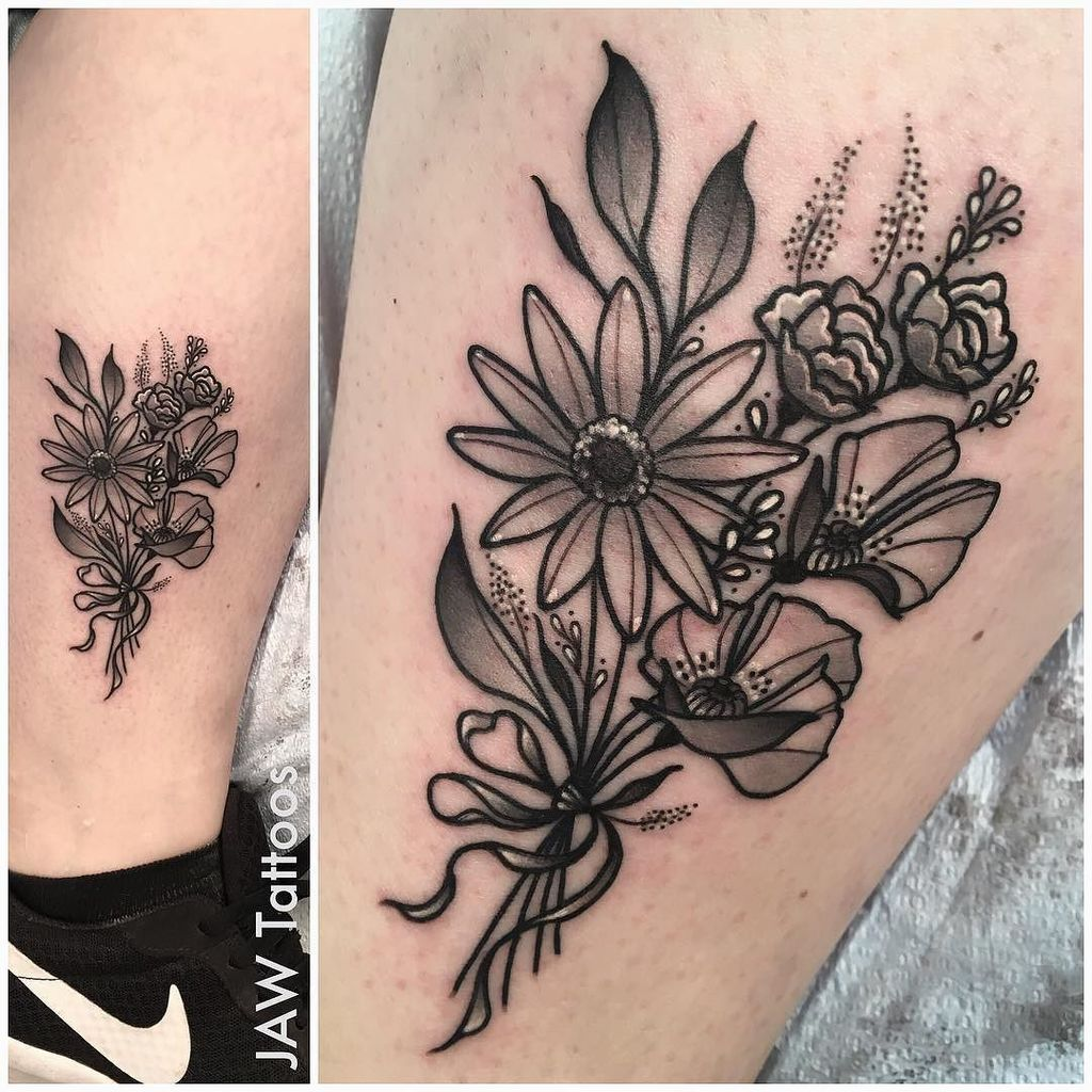 Jaw Tattoos On Twitter Little Bouquet Of Flowers For