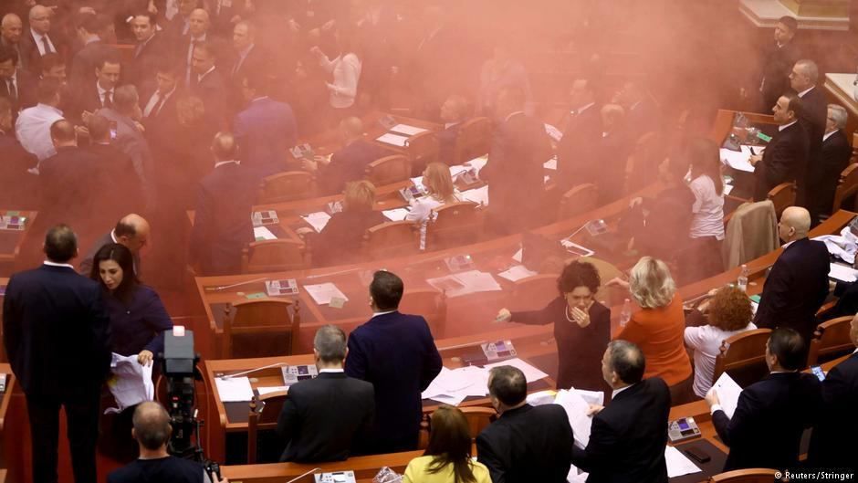 Albanian opposition lawmakers threw smoke bombs in parliament to protest the election of a temporary prosecutor general by the government - the vote still took place: https://t.co/pfyJ2PJm4B