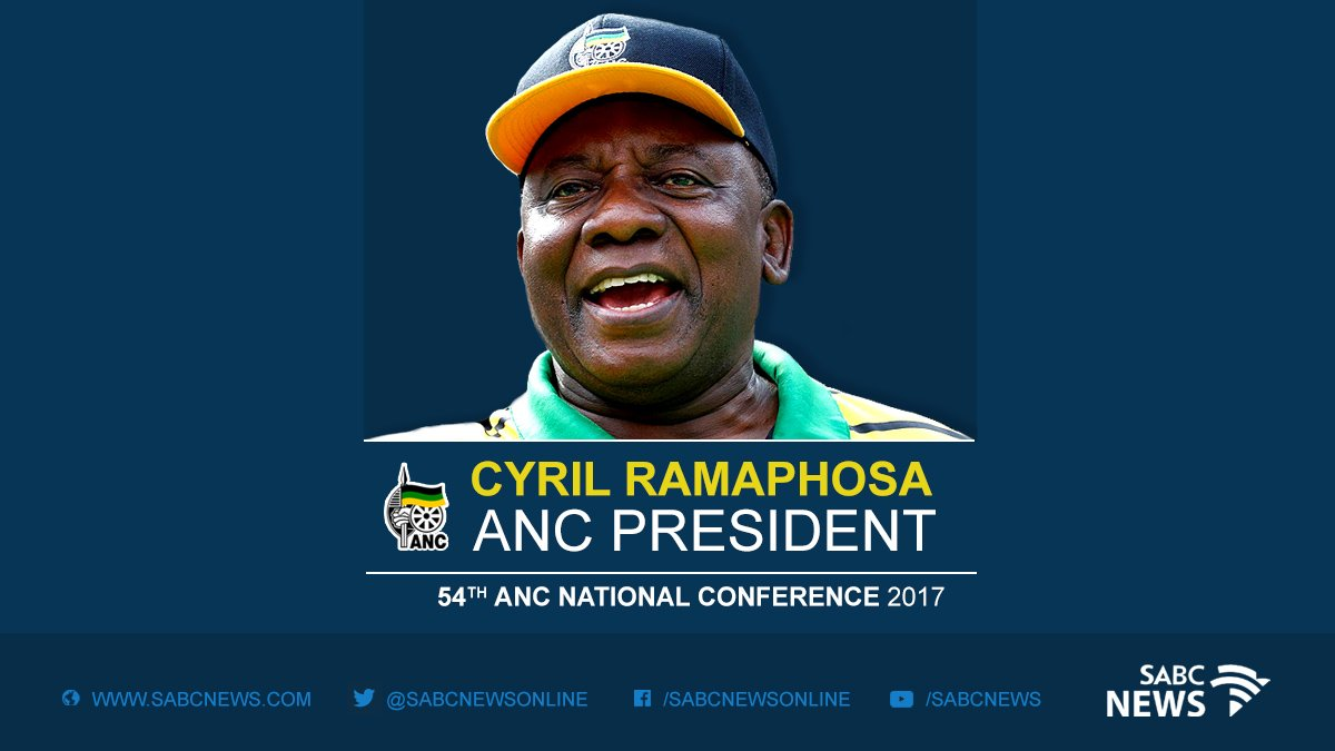 BREAKING NEWS: Cyril Ramaphosa is the new ANC President #CR17 #ANC54