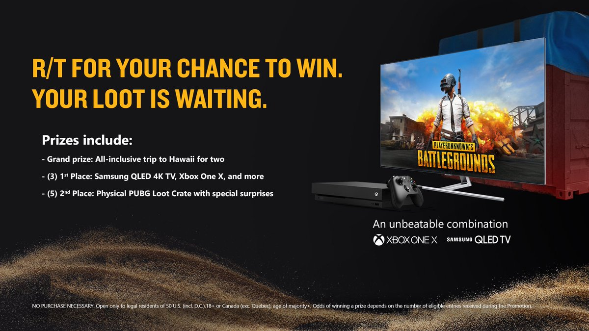 RT for a chance to win a round-trip to Honolulu, Hawaii. NoPurchNec. Ends 1/7/18. #PUBGsweepstakes rules: https://t.co/kQyslH2RKm #PUBG [T]