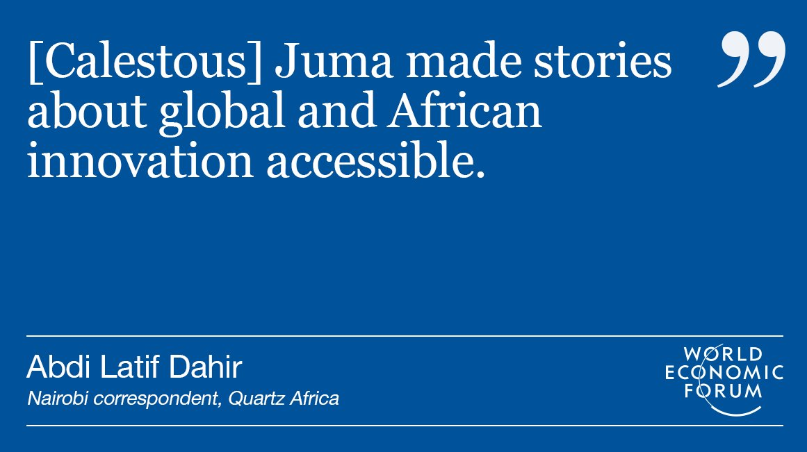 Calestous Juma&#39;s legacy will be his support of #innovation in #Africa  http:// wef.ch/2AStfvU  &nbsp;   <br>http://pic.twitter.com/wmVenDUbDr