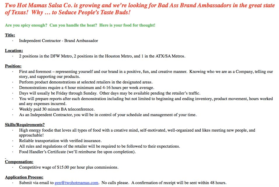 Two Hot Mamas Salsa on Twitter Were hiring Looking for Badass