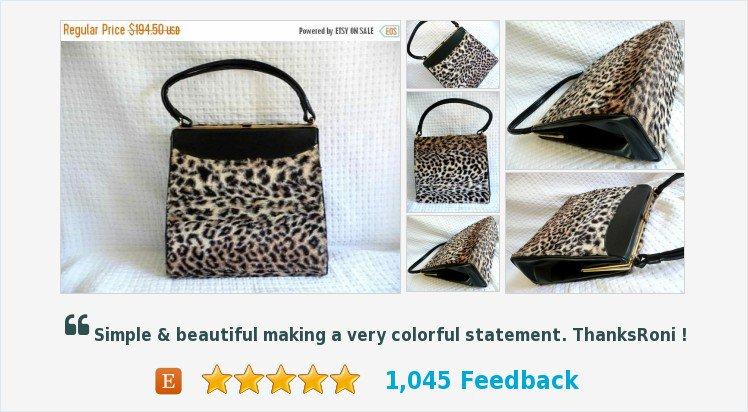 2c4574bfd98d On Sale 1960's Vintage #Leopard Faux Fur Hand#bag Large #Garay Bag * Retro  Rockabilly Mid Century #purse #handbag ...