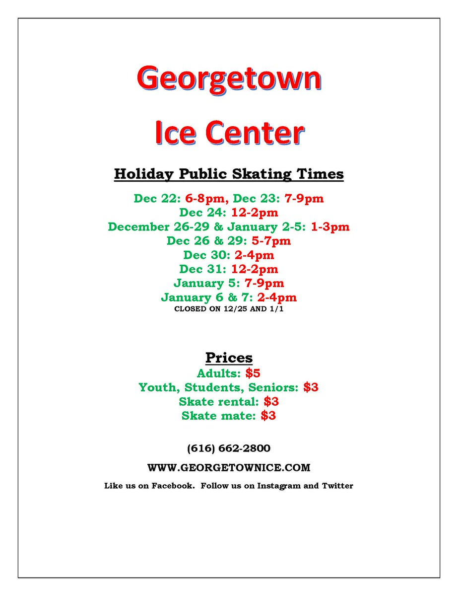 """Holiday ice skating dates and times at """"The George""""!  We'd love to see you! #holidayfun #GeorgetownTownship #Hudsonville #publicskating #holidayiceskating #TheGeorgepic.twitter.com/EFBcSeS5WP"""