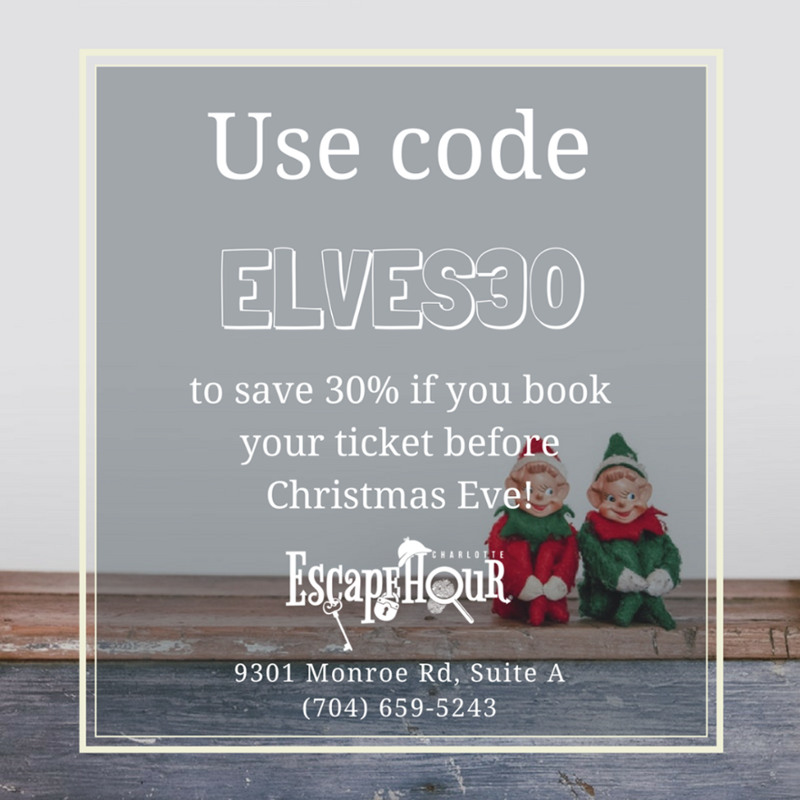 Save 30% if you book your ticket before Christmas Eve (December 24th).  Use code ELVES30!  #escaperoom #escapegame #escape #Charlotte #NC #holidays #holiday #coupon #coupons #couponcode #couponcodes #discount #discounts #saving #sweet <br>http://pic.twitter.com/IrSCcKMYYM