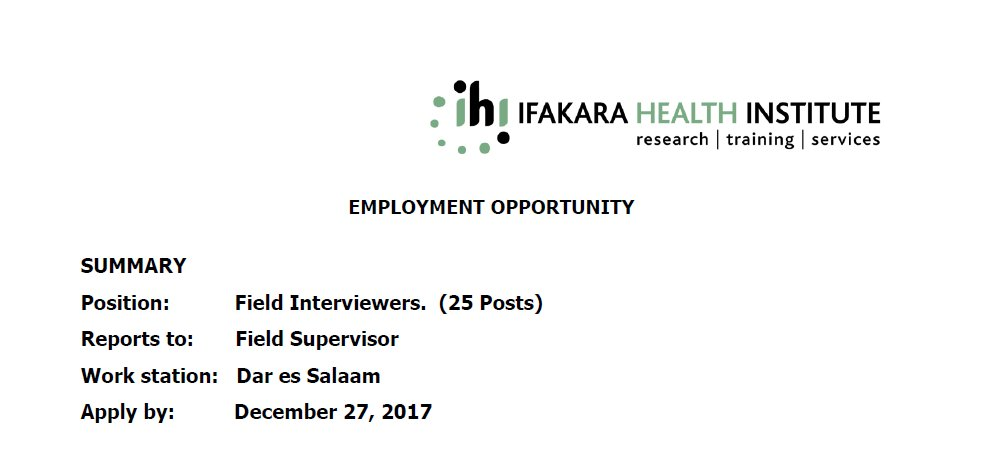 IHI is looking for qualified candidates to apply for field workers. zoomtanzania.com/jobs/field-int…
