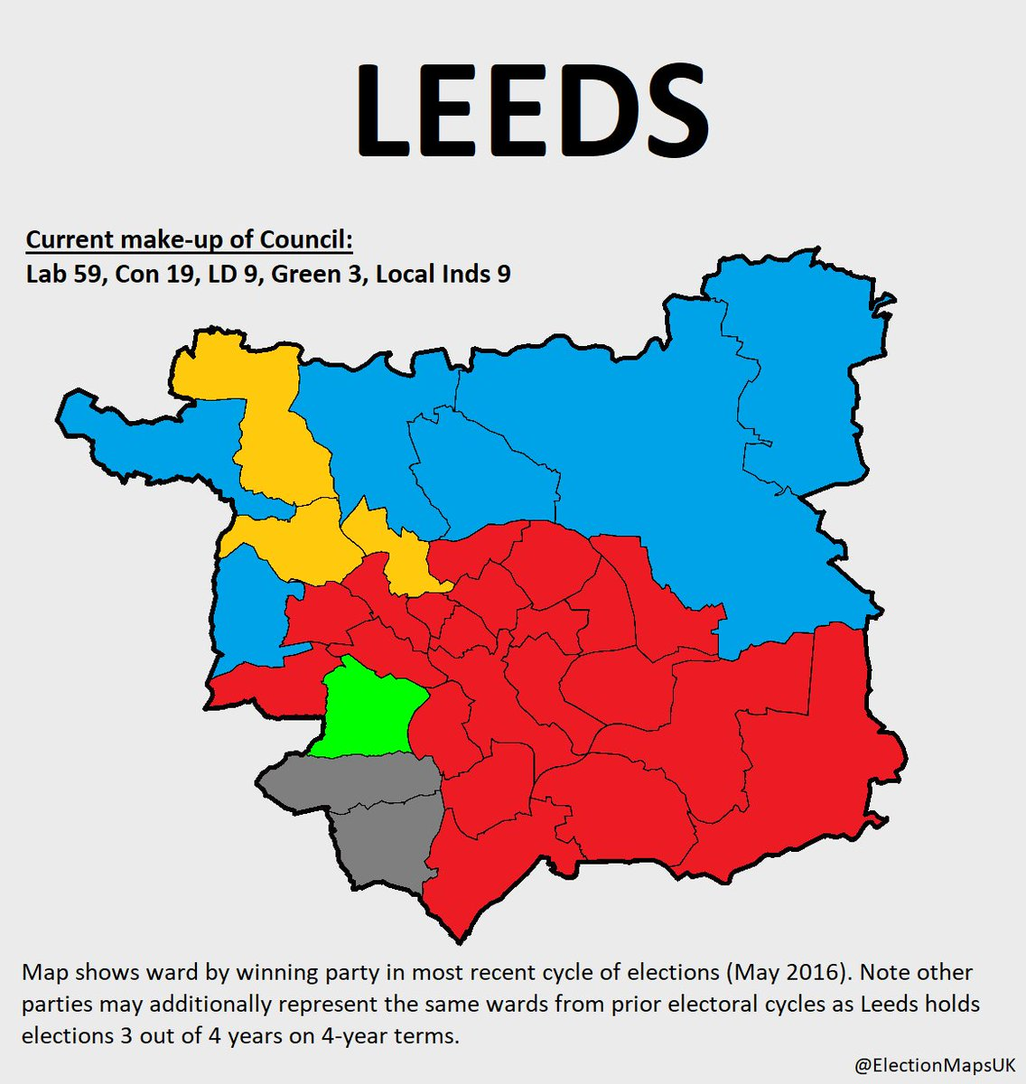 Election Maps UK on Twitter Heres Labourcontrolled Leeds which