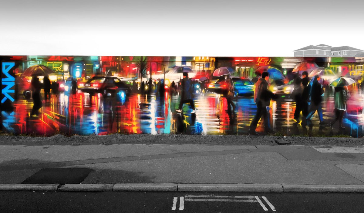 Dan Kitchener DanKitchener Twitter - Beautiful street murals appear on roads only when it rains