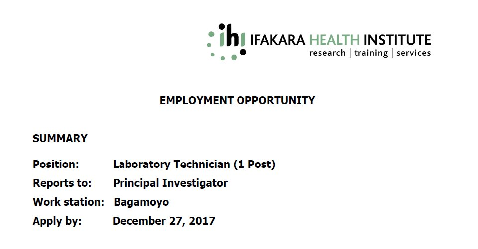 IHI is looking for a qualified candidate to apply for Laboratory Technician (1 Post) zoomtanzania.com/jobs/laborator…