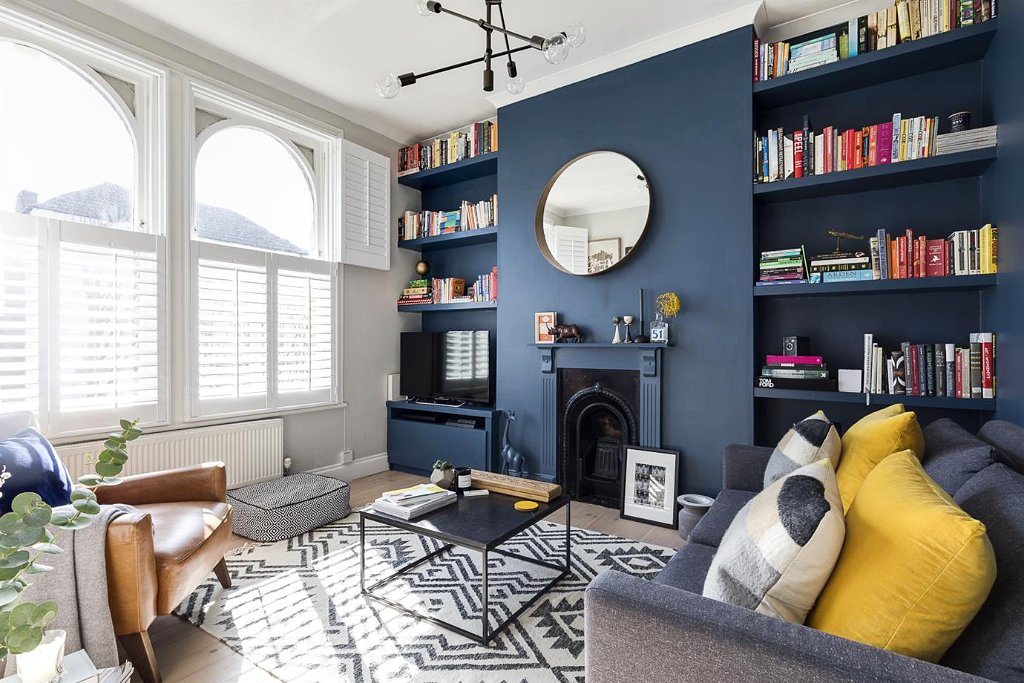 Farrow ball us on twitter create the soothing space - Pictures of blue and white living rooms ...