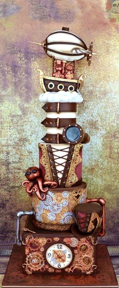#Steampunk Awesome of the Day: #Corset Belt and Flying Boat Pièce Montée #Wedding #Cake via @bodasyweddings #SamaCake