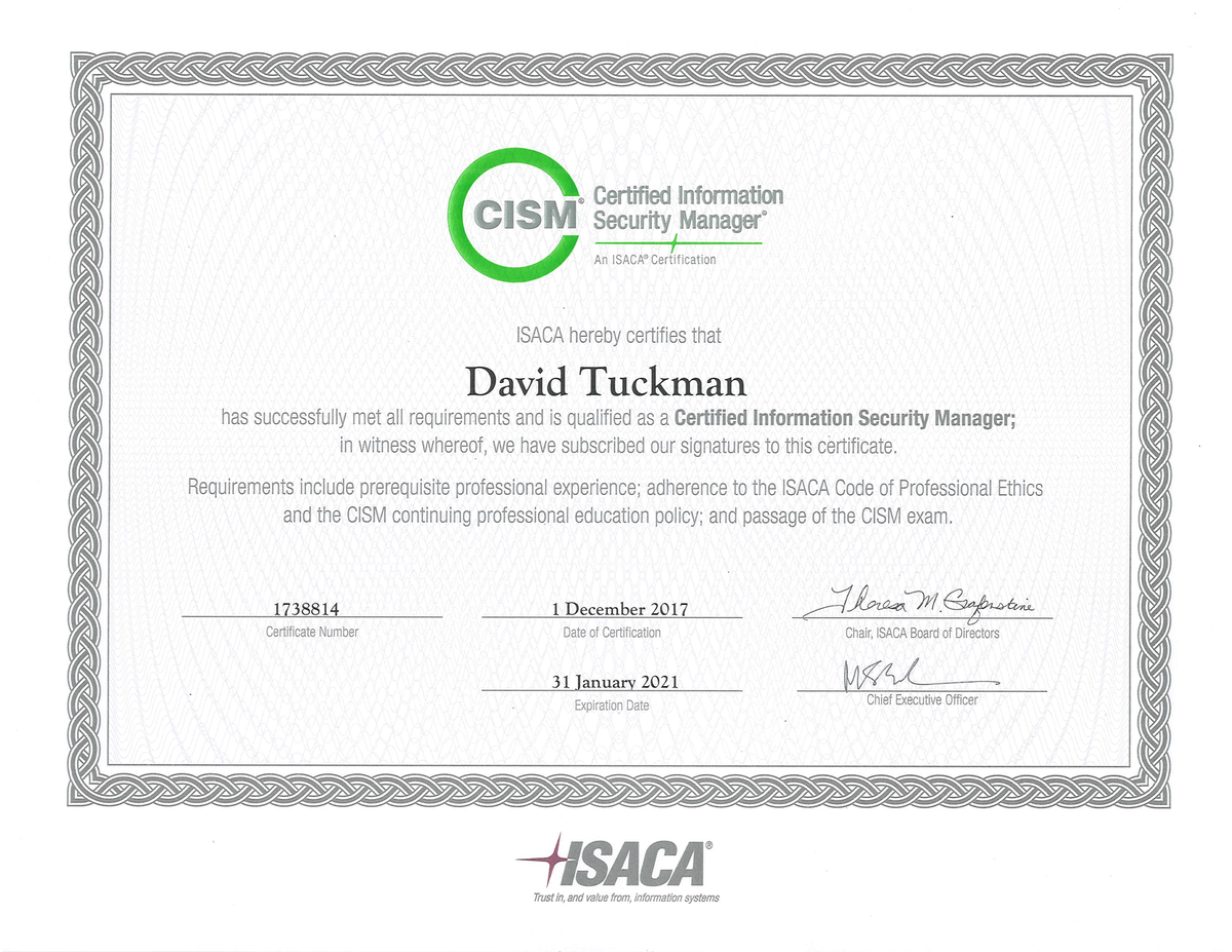 Dave tuckman on twitter my isaca cism certification arrived in the who helped along the way too many to include everyone you know who you are isaca isacasandiego cism certification picittervd6i3hxve6 1betcityfo Choice Image