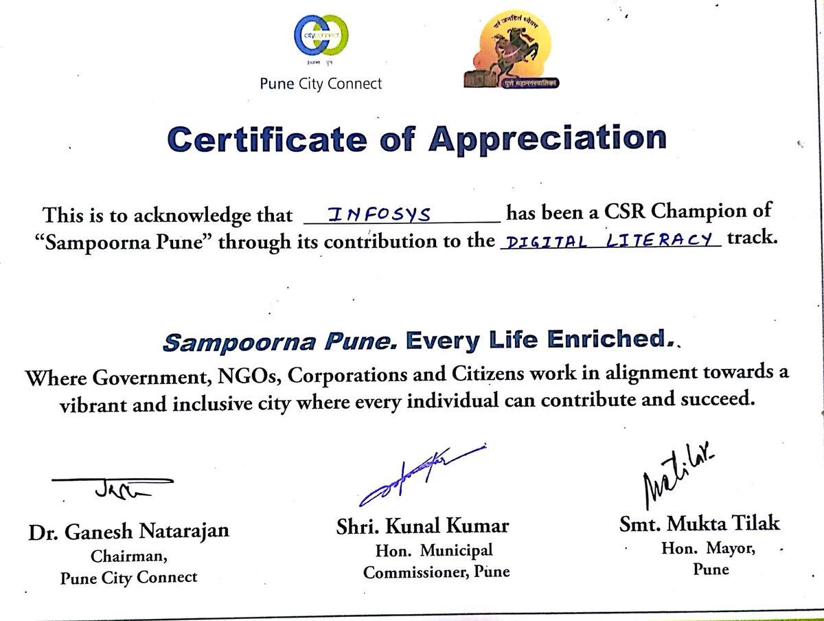 Rajneesh malviya on twitter received certificate of appreciation rajneesh malviya on twitter received certificate of appreciation from kunalkumarpmc ganeshnatarajan and punecityconnect on behalf of infosys pune yadclub Image collections