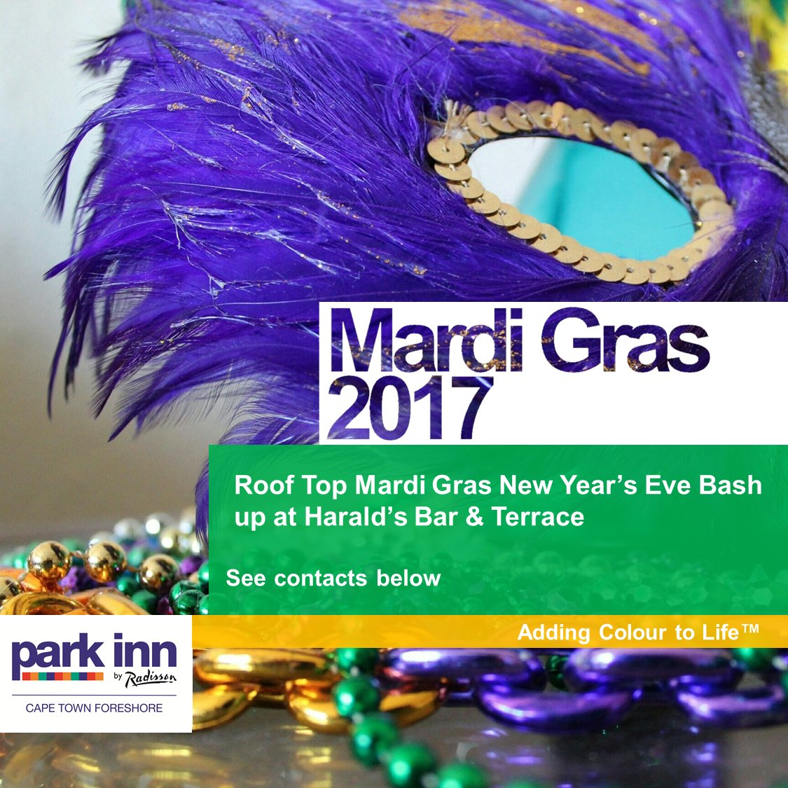 NEW YEARS EVE 2017   Mardi Gras . to enquire more details or to book your spot info.capetown@rezidorparkinn.com (021) 427 4871 https://t.co/1VemMuPBKY