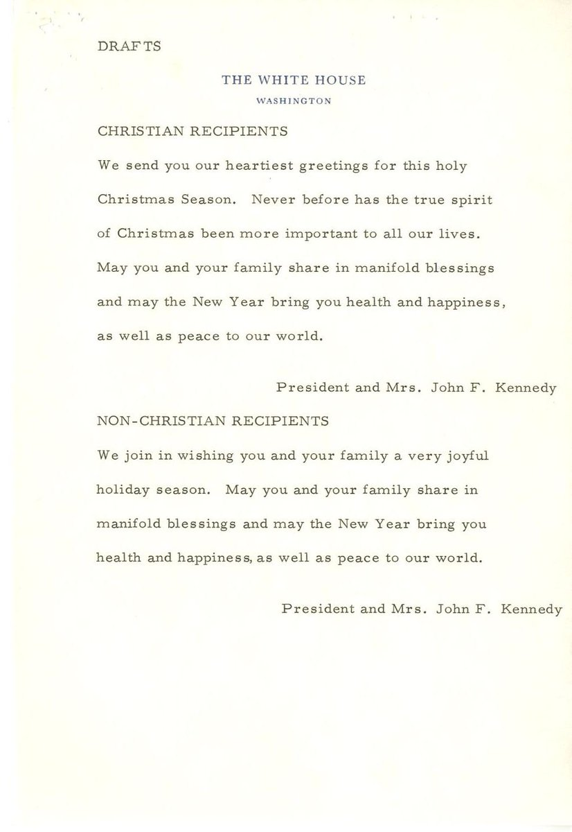 Jfk library on twitter in 1961 the kennedy white house sent out jfk library on twitter in 1961 the kennedy white house sent out inclusive holidays cards one version to go to people celebrating christmas another set kristyandbryce Image collections