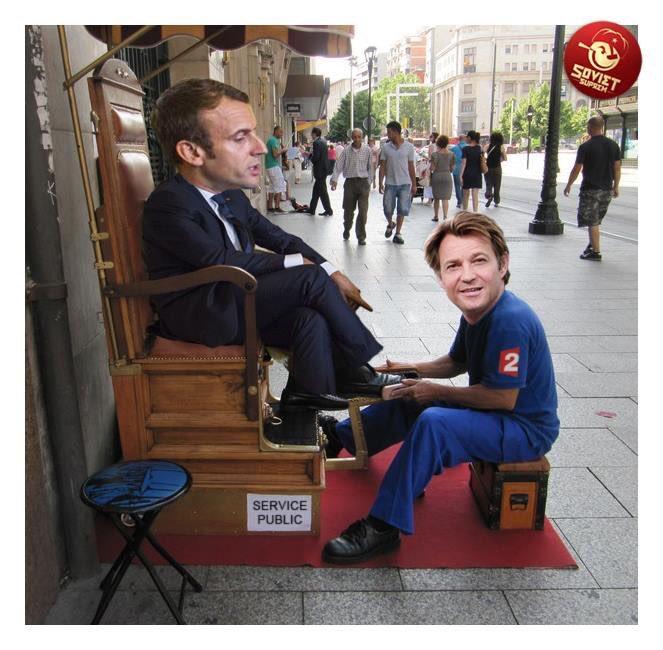 Avant, il lui a fait reluire es chaussures avec finition glaçage des bouts .. #MacronJT20HWE #Macron20HWE #DelaBrosseAReluire