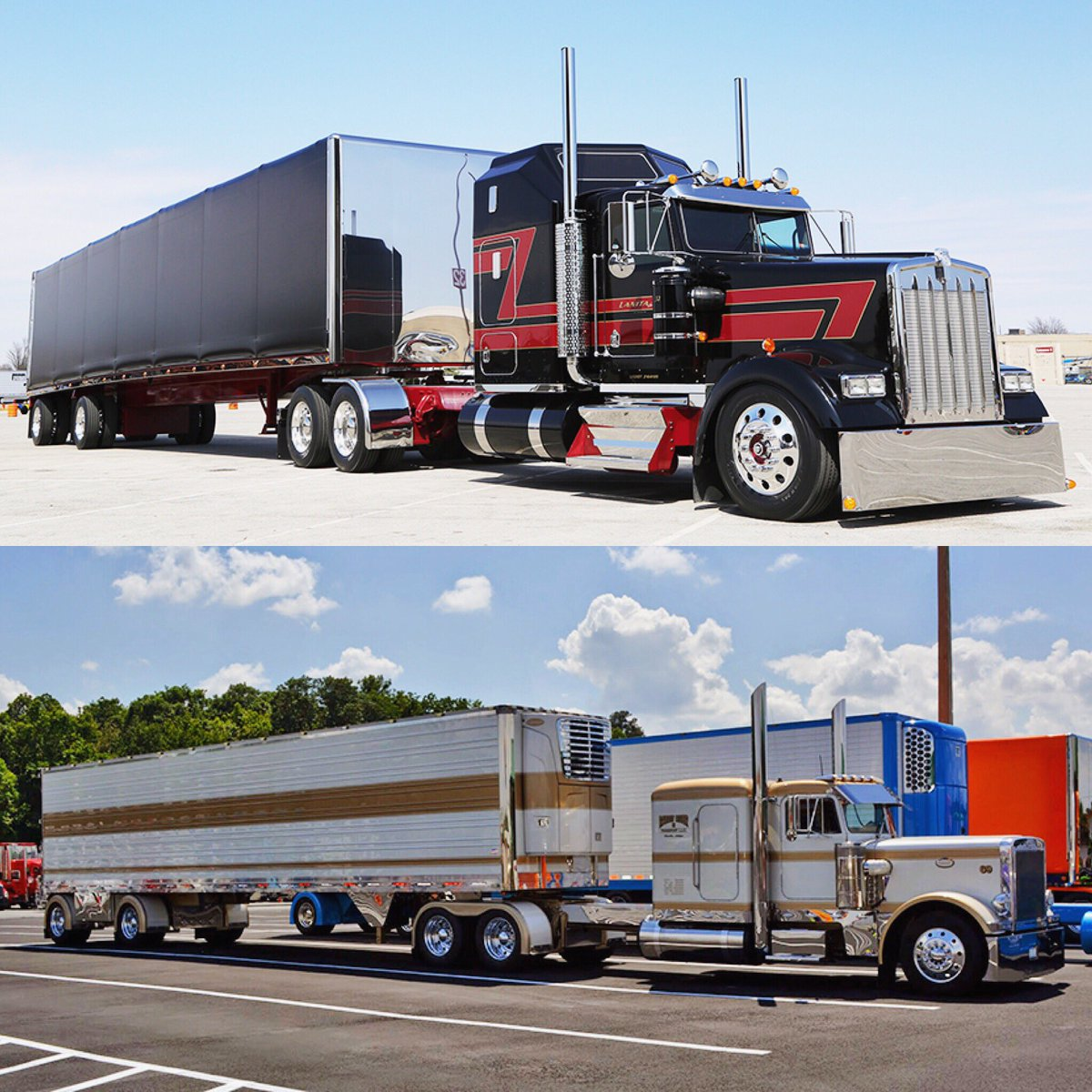 Jack S Chrome Shop On Twitter Battle Of The Big Rigs Is Back This Time We Want To Know Which Full Build Is Your Favorite The Red And Black Kw Or The Gold