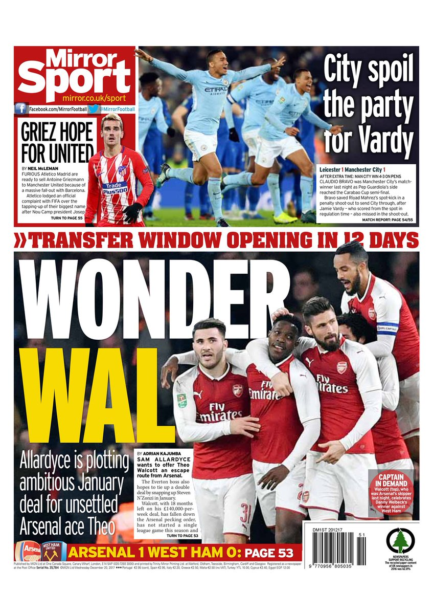 """Daily Mirror slår ihop ett plus ett och kommer fram till att det finns  """"Griez-hopp för United"""". Eftersom Atlético är förbannad på Barcelona över  ett påstått ... 28997763e04d5"""