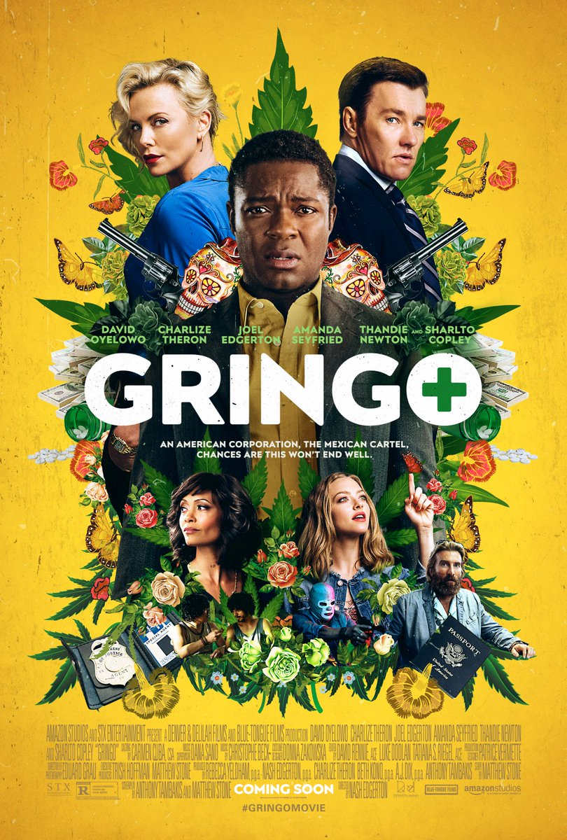 So excited to share the poster for @gringomovie! Stay tuned for the official trailer tomorrow. In theaters March 9.