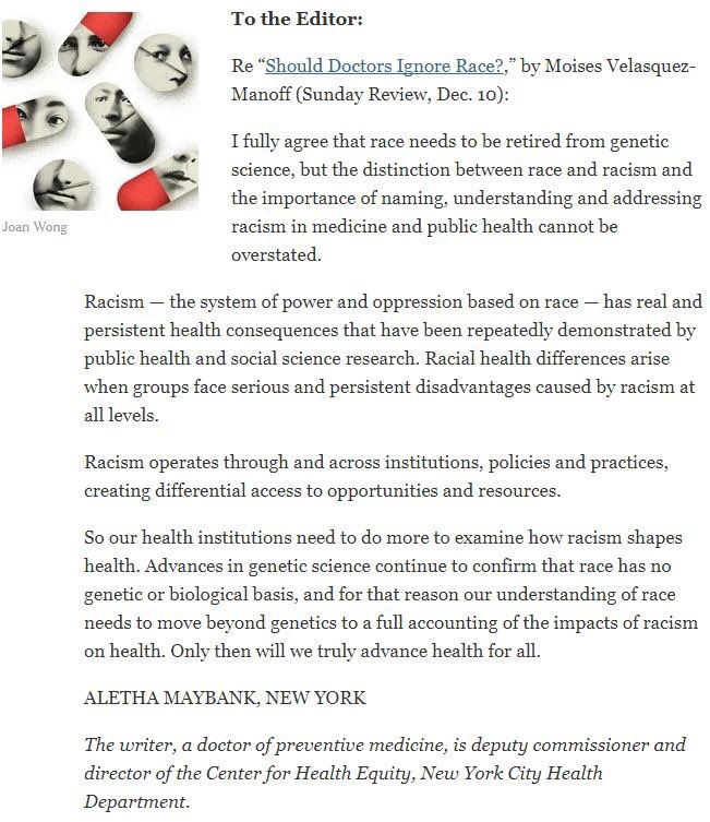 dr aletha maybank on twitter my letter to the editor nytimes highlighting the distinction between race and racism httpstcod9tgac6n1p